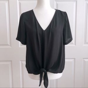 Madewell Black Novel Tie Front Top Tee Shirt M
